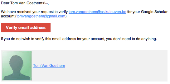 Google Scholar Verification email (HTML injected)