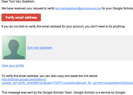 Google Scholar Verification email (normal)